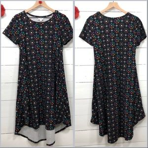 LuLaRoe Carly Hi-Low Swing Dress Black Print XXS